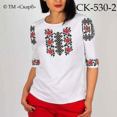 """Заготовка жіночої блузки під вишивку """"Червоно-чорні троянди"""" (варіант 2)"""
