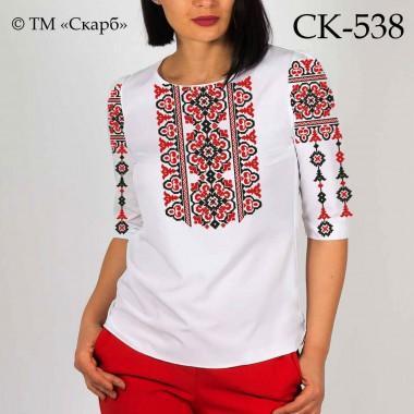 """Заготовка жіночої блузки під вишивку - орнамент """"Леся"""" (червоно-чорний)"""
