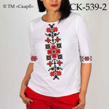"""Заготовка жіночої блузки під вишивку """"Монохромний оберіг"""" (червоно-чорна)"""