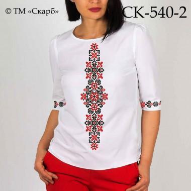 """Заготовка жіночої блузки під вишивку """"Монохромні зірки"""" (червоно-чорна)"""