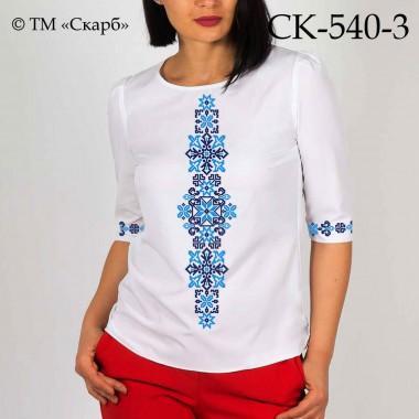 """Заготовка жіночої блузки під вишивку """"Монохромні зірки"""" (блакитно-синя)"""