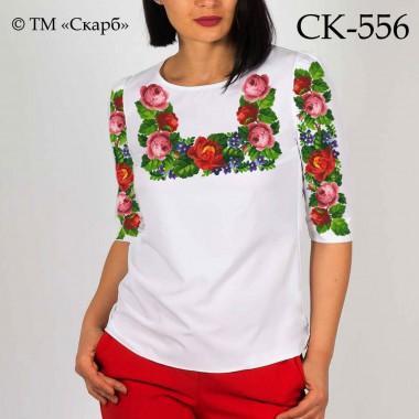 """Заготовка жіночої блузки під вишивку """"Плетення червоних та рожевих троянд"""""""