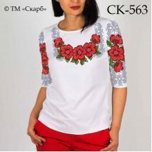 """Заготовка жіночої блузки під вишивку """"Червоні квіти в сріблі"""""""