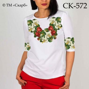 """Заготовка жіночої блузки під вишивку """"Білі лілії з трояндами"""""""