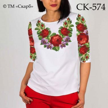 """Заготовка жіночої блузки під вишивку """"Цвіт червоних троянд"""""""