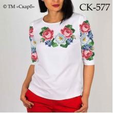 """Заготовка жіночої блузки під вишивку """"Квітка папороті та троянди"""""""