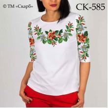 """Заготовка жіночої блузки під вишивку """"Червоні та білі квіточки"""""""