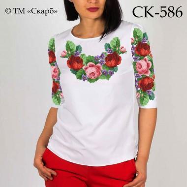 """Заготовка жіночої блузки під вишивку """"Червоні та рожеві троянди"""""""