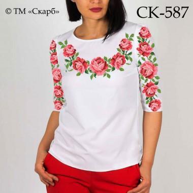 """Заготовка жіночої блузки під вишивку """"Рожеві троянди"""""""