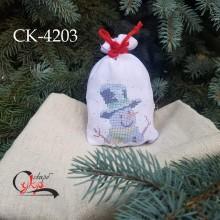 """Подарункова торбинка """"Сніговик у капелюсі"""""""