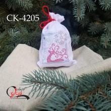 """Подарункова торбинка """"Казковий олень та сніжинки"""""""