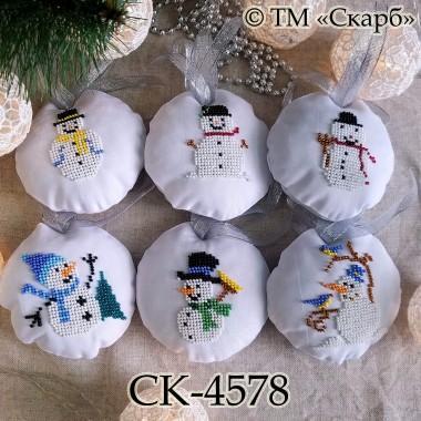 """Набір новорічних прикрас """"Веселі сніговики"""""""