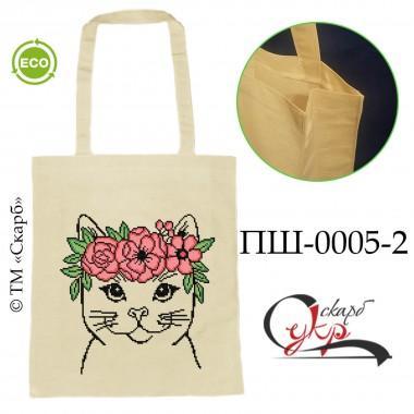 """Еко-сумка під вишивку """"Котик з віночком"""" (кольоровий)"""