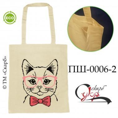 """Еко-сумка під вишивку """"Котик в окулярах"""" (кольоровий)"""