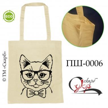 """Еко-сумка під вишивку """"Котик в окулярах"""""""
