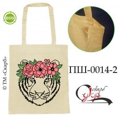 """Еко-сумка під вишивку """"Тигр з віночком"""" (кольоровий)"""