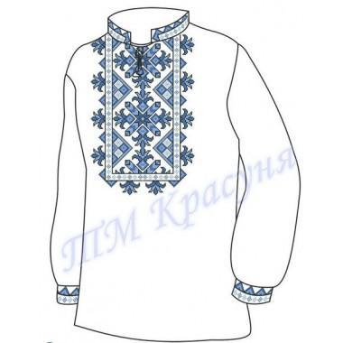 """Заготовка чоловічої вишиванки """"Пишний орнамент"""" (блакитно-синій)"""