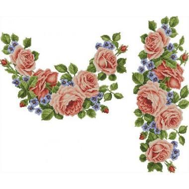 """Заготовка жіночої сорочки з нанесеним малюнком під вишивку """"Троянди переплетені з фіалками"""""""