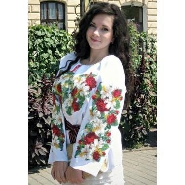 """Заготовка жіночої сорочки з нанесеним малюнком під вишивку """"Пишні троянди та лілії"""""""
