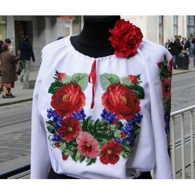 """Заготовка жіночої сорочки з нанесеним малюнком під вишивку """"Троянди з фіалками"""""""