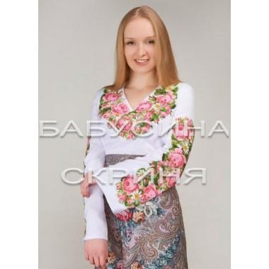 """Заготовка жіночої сорочки з нанесеним малюнком під вишивку """"Пишні троянди та ромашки"""""""