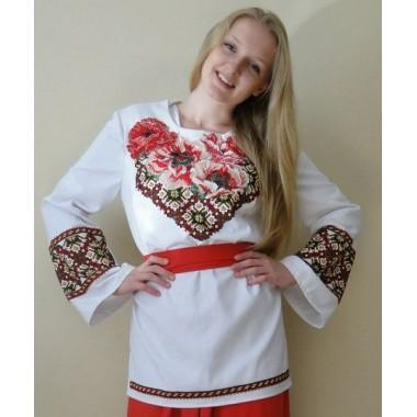 """Заготовка жіночої сорочки з нанесеним малюнком під вишивку - Маки з орнаментом """"Восьмикутна зірка"""""""