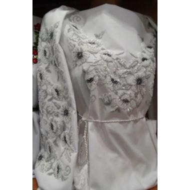 """Заготовка жіночої сорочки з нанесеним малюнком під вишивку """"Маки (чорно-білі)"""""""