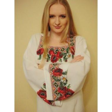 """Заготовка жіночої сорочки з нанесеним малюнком під вишивку """"Маки та ромашки з орнаментом"""""""