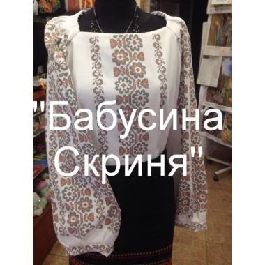 """Заготовка жіночої сорочки з нанесеним малюнком під вишивку """"Пишний квітковий орнамент"""""""