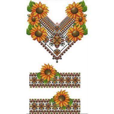 """Заготовка жіночої сорочки з нанесеним малюнком під вишивку - Соняшники з орнаментом """"Восьмикутна зірка"""""""